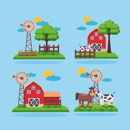 set of farm fresh cartoon barn animals mill trees vector illustration