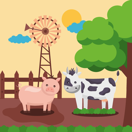cow pig and mill farm fresh cartoon vector illustration Ilustração