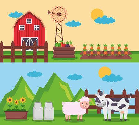barn mill carrots sheep and cow banners farm fresh cartoon vector illustration Ilustração