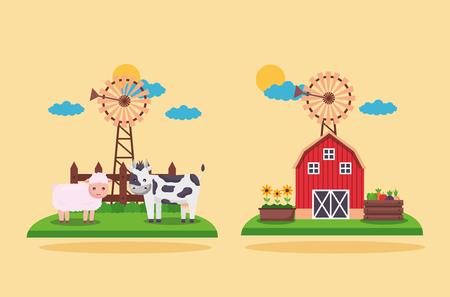 barn cow sheep flowers garden farm fresh cartoon vector illustration Illustration