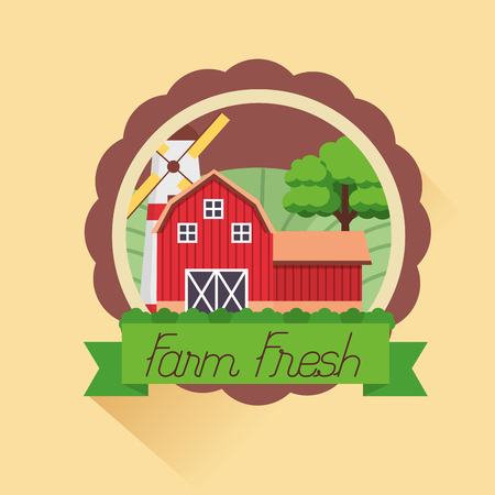 barn and windmill farm fresh cartoon vector illustration
