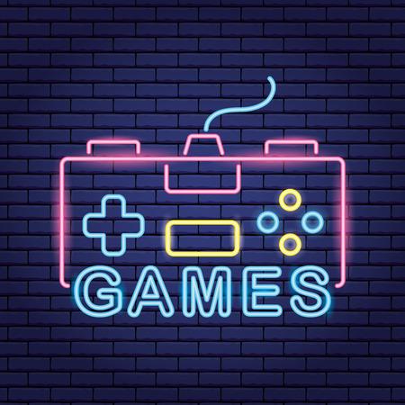 video game neon control play vector illustration Ilustracja
