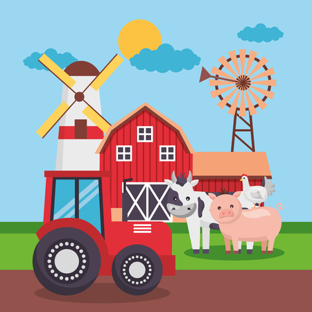 barn tractor windmill animlas farm fresh cartoon vector illustration