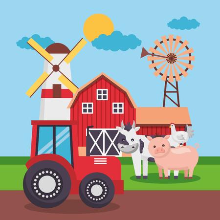 granero tractor molino de viento animlas granja ilustración de vector de dibujos animados frescos