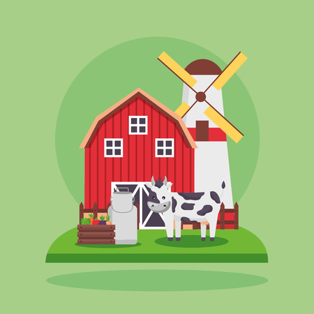 barn mill cow milk vegetables farm fresh cartoon vector illustration