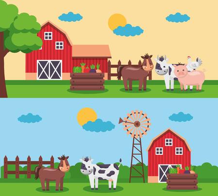 barn mill vegetables and animals banners farm fresh cartoon vector illustration