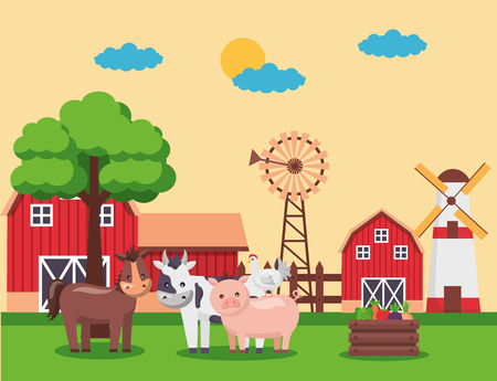 barn windmill vegetables and animals farm fresh cartoon vector illustration