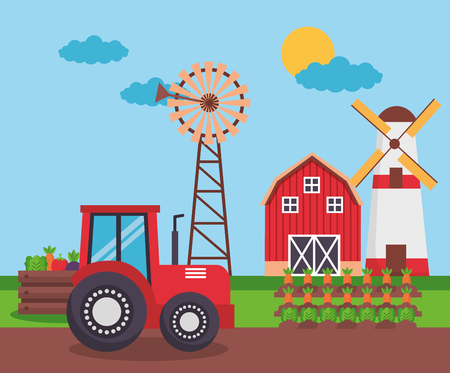 tractor barn mill vegetables carrots planting farm fresh vector illustration Banco de Imagens - 125214385