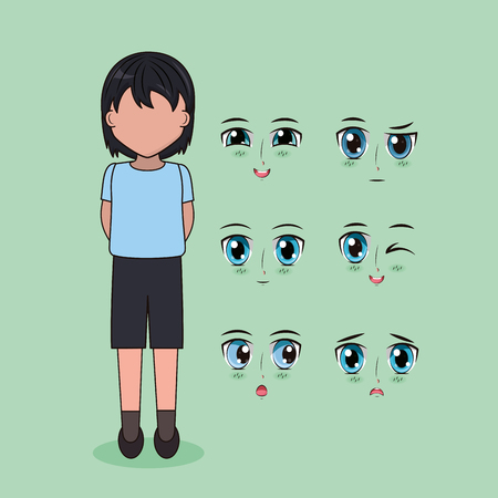 boy with eyes and mouths face anime vector illustration