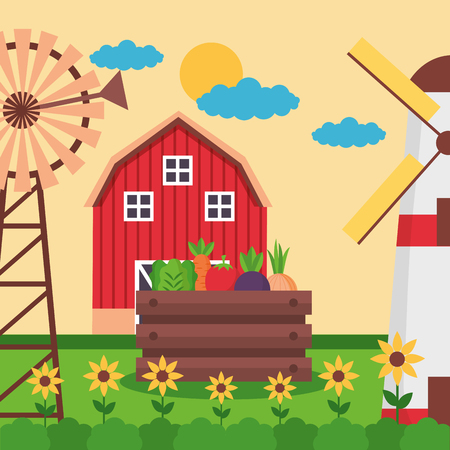barn basket vegetables mill flowers farm fresh cartoon vector illustration
