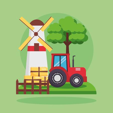 barn tractor and bales of hay farm fresh cartoon vector illustration