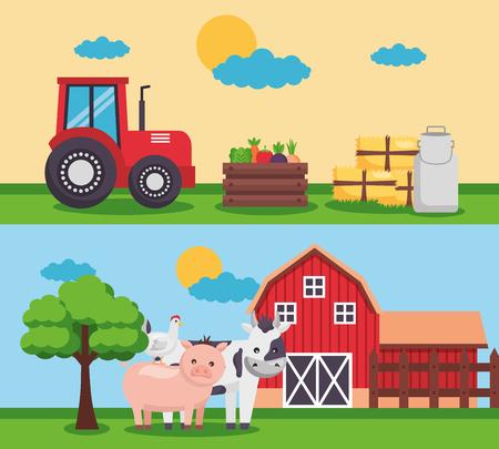 barn tractor animals milk banners farm fresh cartoon vector illustration