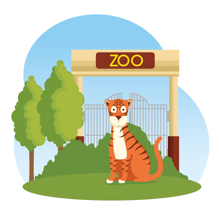 tiger wild animal in the zoo reserve vector illustration