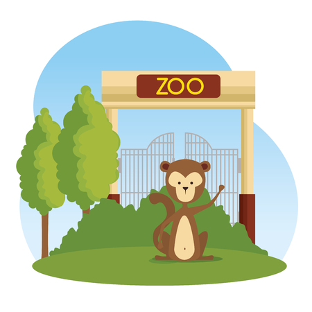 monkey wild animal in the zoo reserve vector illustration Ilustracja
