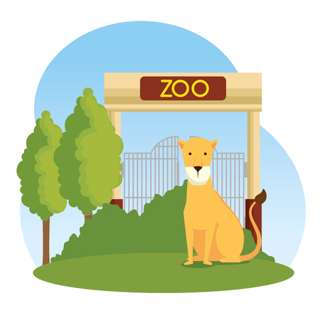 lion wild animal in the zoo reserve vector illustration