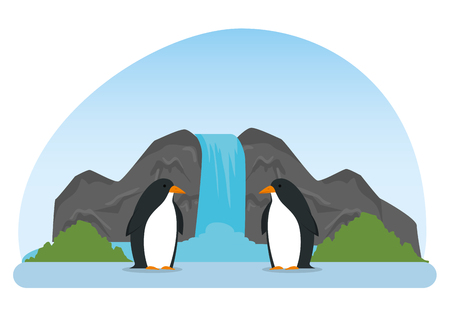 penguins wild animals in the waterfall reserve vector illustration 向量圖像