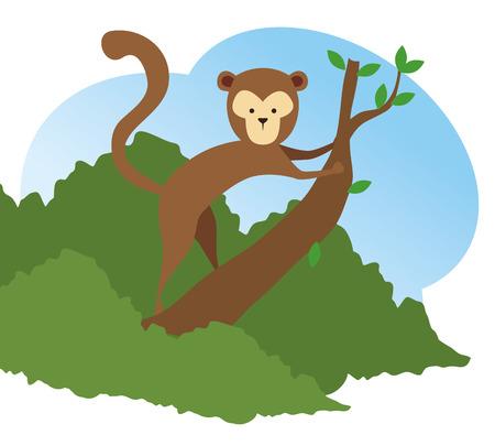 monkey wild animal in the tree branch vector illustration