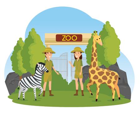 zebra and giraffe wild animals with safari people vector illustration