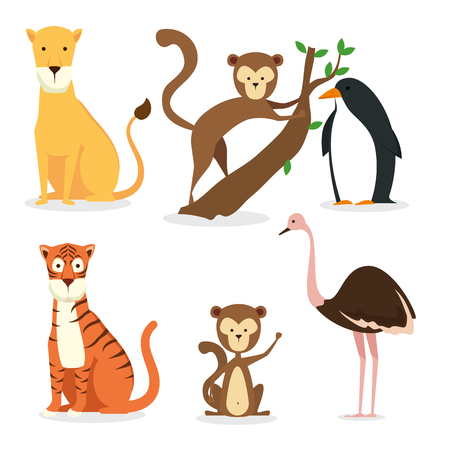 set wild animals reserve to fauna coservation vector illustration