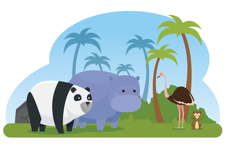 ostrich with panda and hippopotamus wild animals vector illustration Çizim