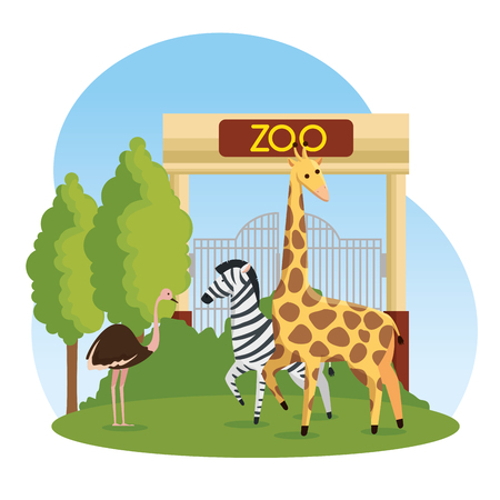 ostrich with zebra and giraffe wild animals in the zoo vector illustration Stok Fotoğraf - 125154329
