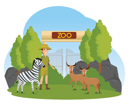 zebra with deer animals in the zoo with safari man vector illustration
