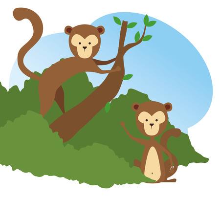 monkeys wild animals in the tree branch reserve vector illustration