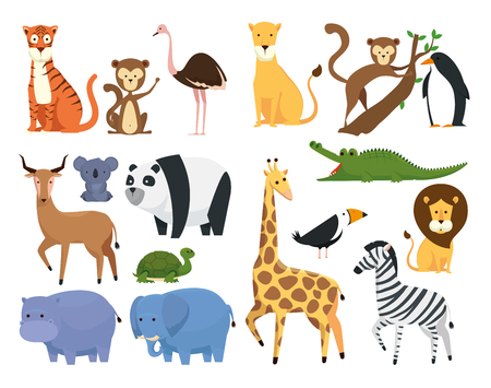 set wild animals in the zoo safari reserve vector illustration Stok Fotoğraf - 125154332