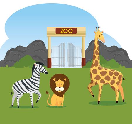 zebra with lion and giraffe wild animals reserve vector illustration