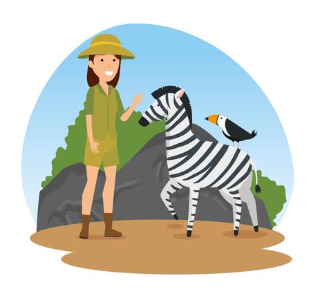 zebra with bird wild animals and safari woman vector illustration 일러스트