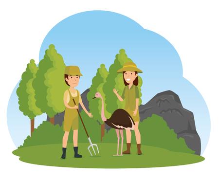 ostrich wild animal with safari people vector illustration Stock Illustratie