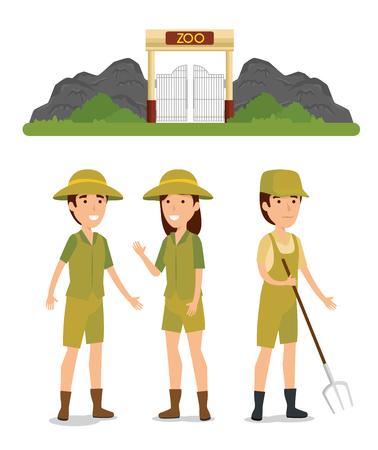 set zoo wildlife reserve and safari people vector illustration