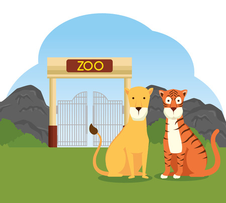 tiger and lion wild animal in the zoo reserve vector illustration