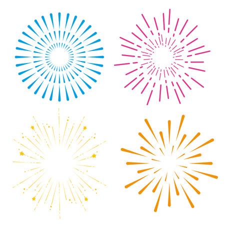 set fireworks to happy celebration event vector illustration Çizim