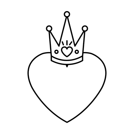 heart love with queen crown valentines card vector illustration design