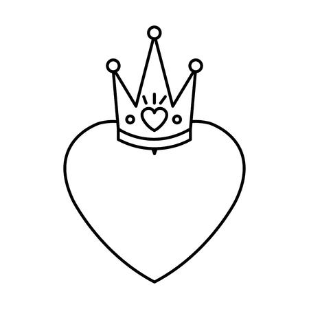 heart love with queen crown valentines card vector illustration design Archivio Fotografico - 125113344