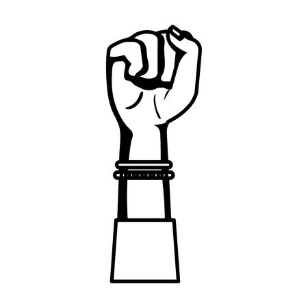 hand in fight signal isolated icon vector illustration desing Illustration