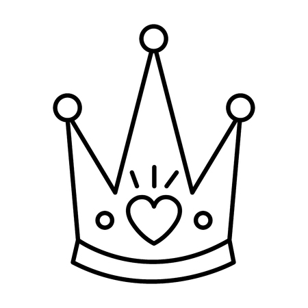 cute queen crown with heart vector illustration design Foto de archivo - 117335937