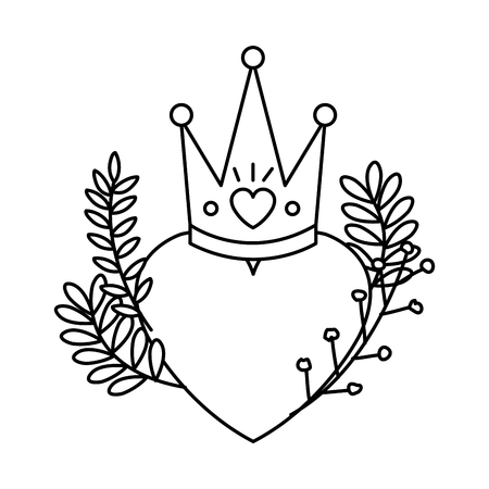 heart love with queen crown and wreath vector illustration design