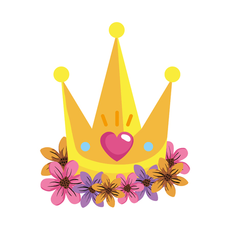 cute queen crown with heart and flowers vector illustration design