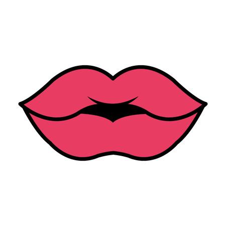 female lips pop art style vector illustration design