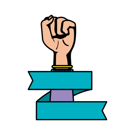 hand in fight signal isolated icon vector illustration desing