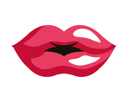 female lips pop art style vector illustration design Banque d'images - 117335947