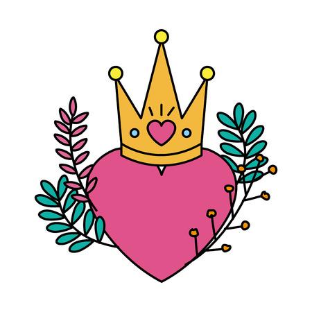 heart love with queen crown and wreath vector illustration design Archivio Fotografico - 125113389