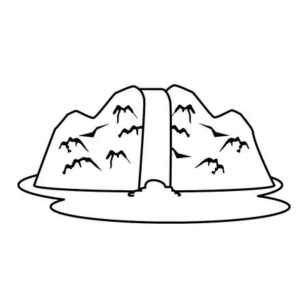 Rock- und Wasserfallszenenvektor-Illustrationsdesign Vektorgrafik