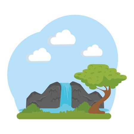 Landschaftssavanne mit Wasserfallvektorillustrationsdesign