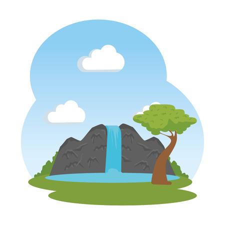 landscape savannahh with waterfall vector illustration design Stock Illustratie