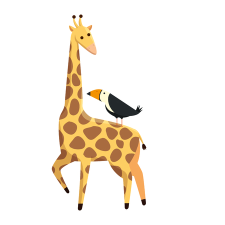 african giraffe and toucan wildlife vector illustration design Çizim