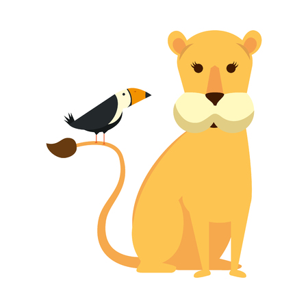 african lioness with toucan bird vector illustration design