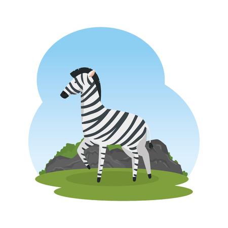african zebra in the savannah vector illustration design  イラスト・ベクター素材